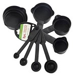 Plastic Measuring Cup and Spoon Set, Black